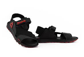 Мужские сандали кожаные летние черные-красные Anser Crossfit R5
