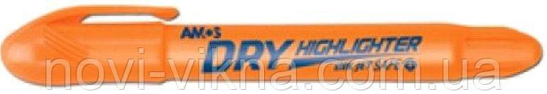 Маркер текстовый Amos сухой флуоресцентный HLD12YL, оранжевый.