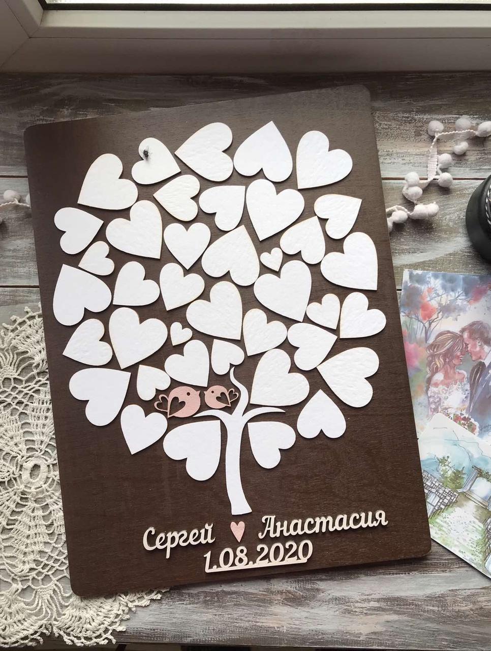 Дерево пожеланий (Размер рамки 40х50см, 40-45 сердечек)
