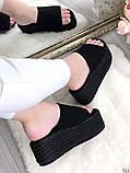 Женские сабо шлепки эко замш на плетенной подошве ,на платформе,танкетка 7 см, фото 7