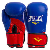 Перчатки боксерские кожаные на липучке ELS MA-6750  10 унции, Синий-красный