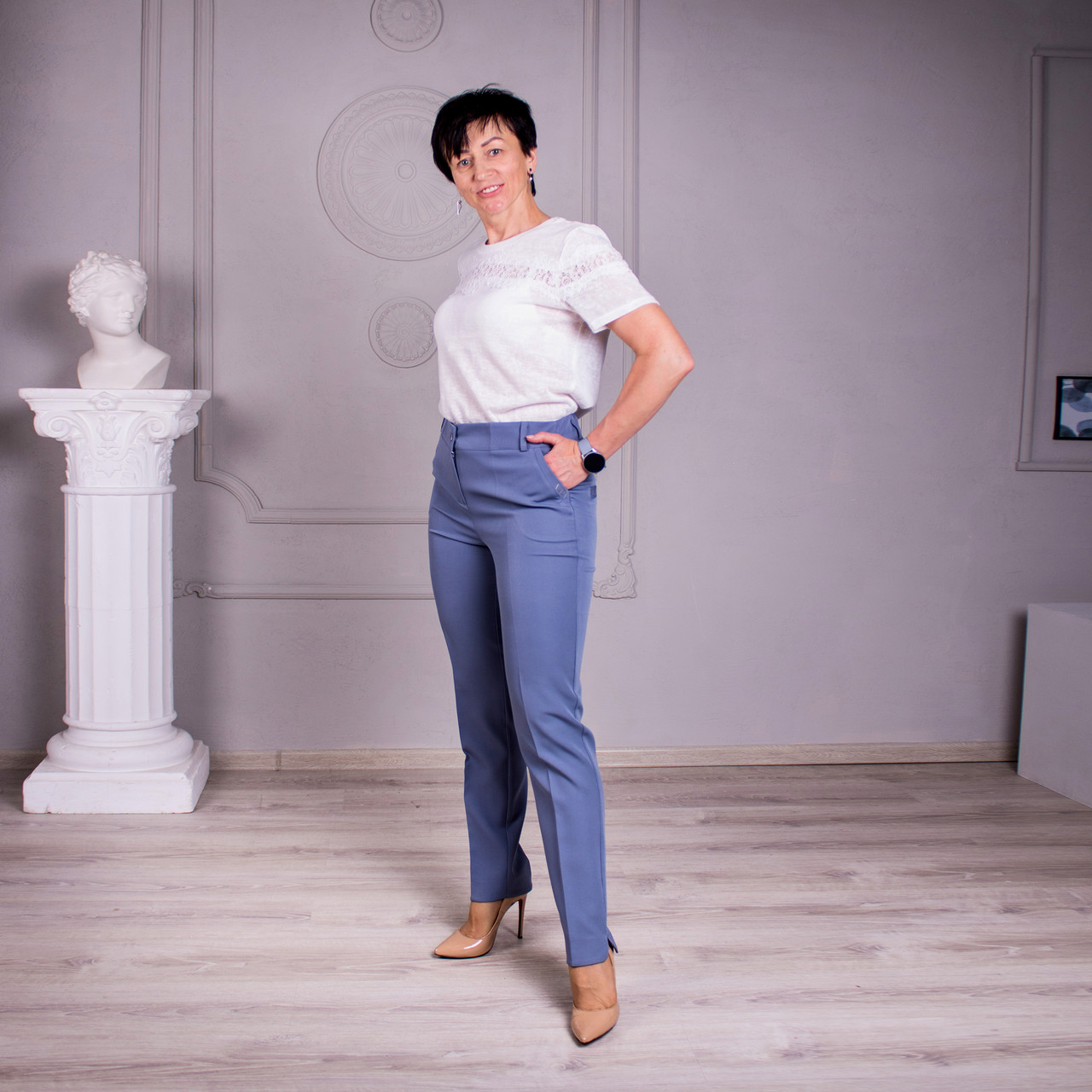 Женские брюки Салина серо-голубая