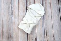 Летний вязаный конверт-плед для новорожденного MagBaby с уголком молочный