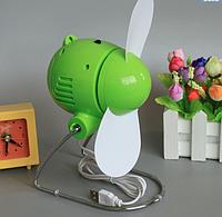 USB вентилятор зеленый ( работает от ноутбука поувереннее банка сети через блок питания), фото 1