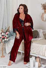 Женская кружевная пижама топ+штаны+халат, большой размер!