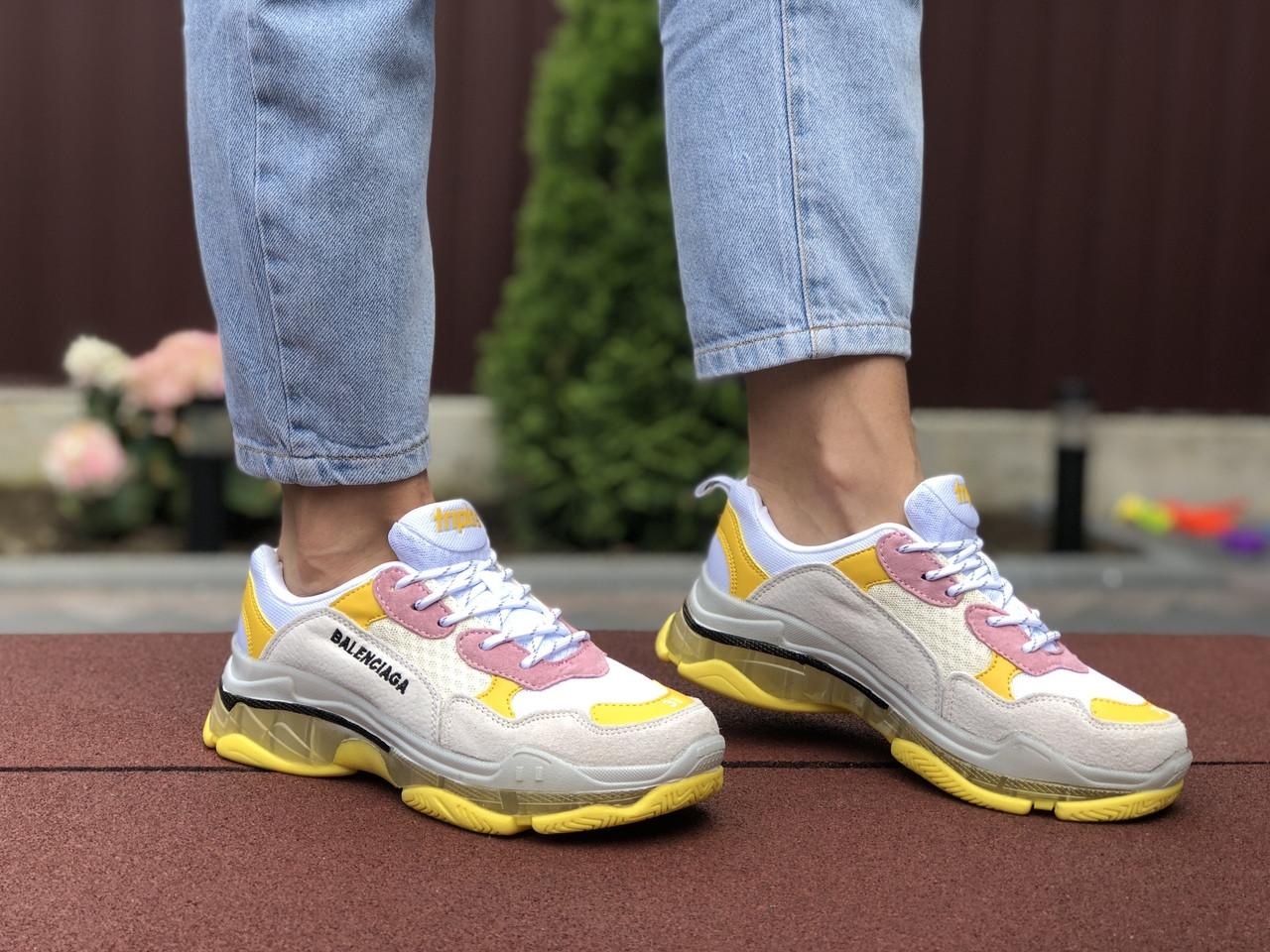 Женские кроссовки Balenciaga (светло-серые с желтым) 9505