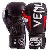 Перчатки боксерские FLEX на липучке VNM ELITE BO-5338 12 унции, Черный-красный