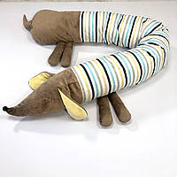 """Детская подушка-валик  """"Собачка-сплюшка"""", коричневая из плюша"""