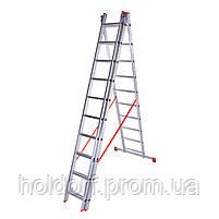 Лестница трехсекционная алюминиевая Laddermaster Sirius A3A10. 3x10 ступенек, фото 2