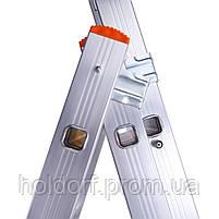 Лестница трехсекционная алюминиевая Laddermaster Sirius A3A10. 3x10 ступенек, фото 3