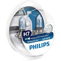 Лампа галогенная Philips H7 WhiteVISION +60% 3700К 2шт/блистер 12972WHVSM