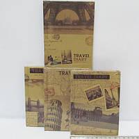 """Блокнот с желтой бумагой """"Travel diary"""" 11*15см, mix4"""