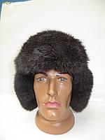 Зимняя мужская шапка ушанка из меха кролика