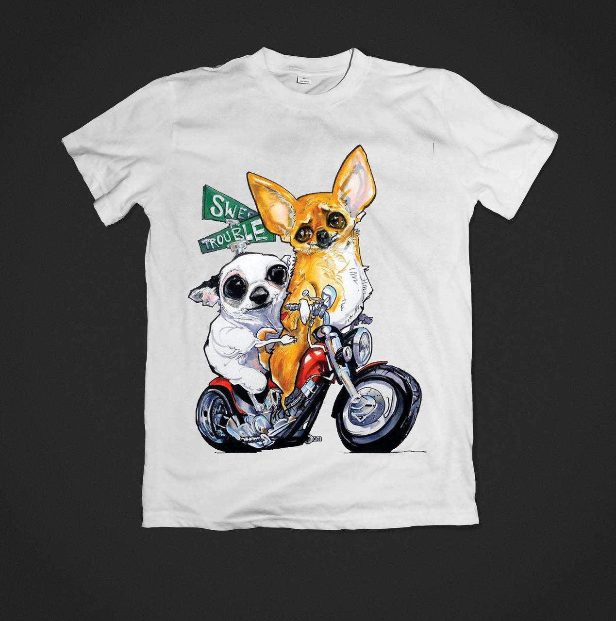 Футболка жіноча з принтом Dogs bike