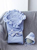 Муслиновый конверт с шапочкой MagBaby Shery голубой