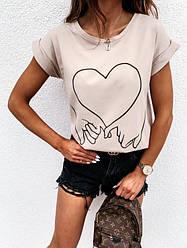 Стильная женская бежевая футболка с принтом