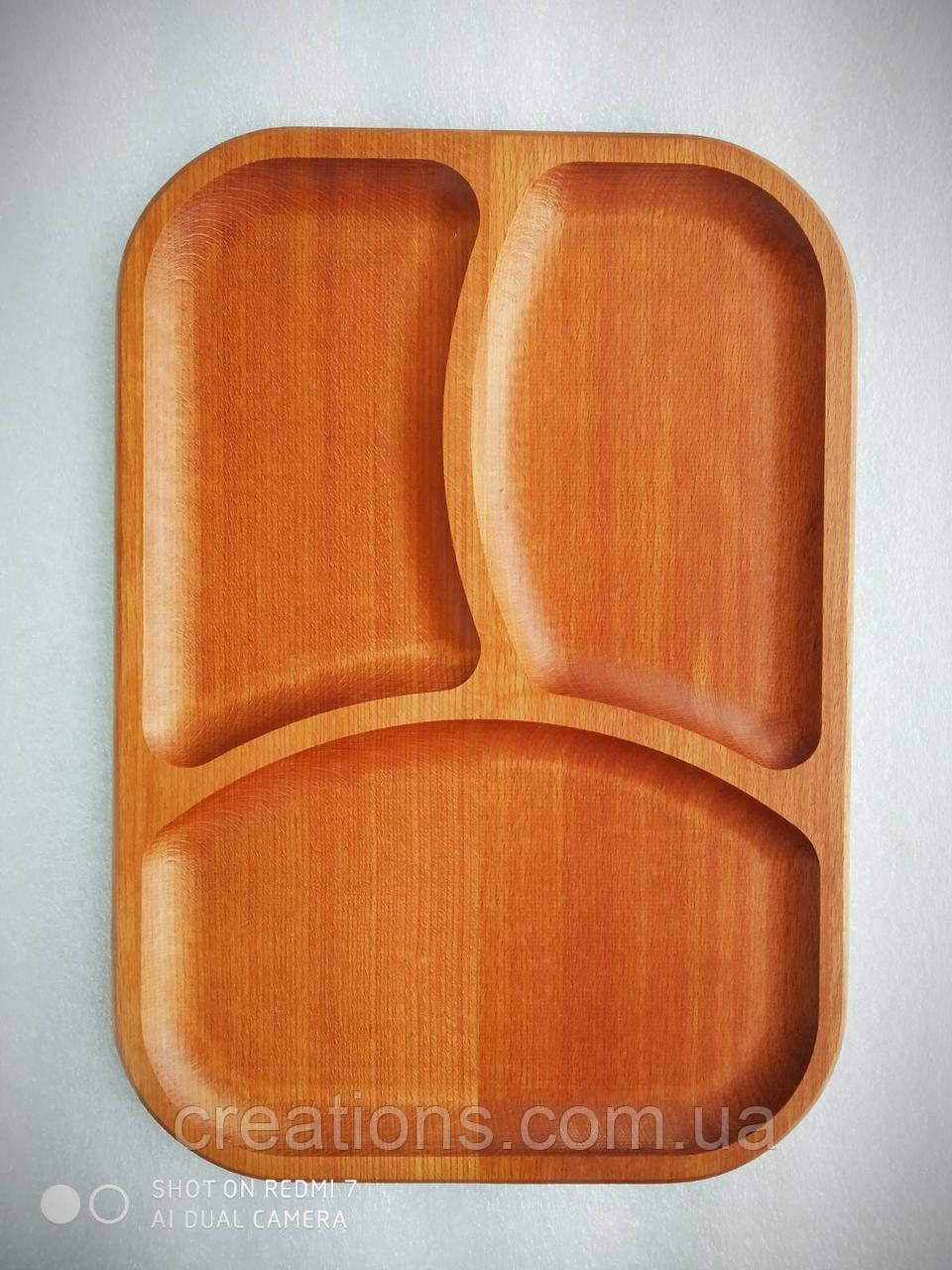 Менажница деревянная 37х26 см. прямоугольная на 3 секции из бука БМ-36