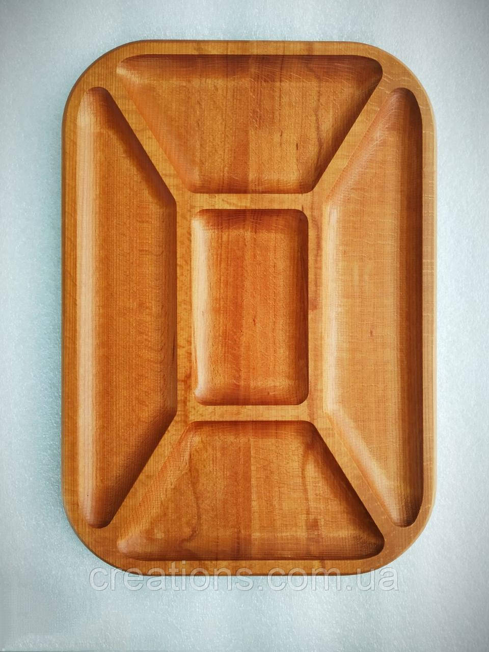 Менажница деревянная 37х26 см. прямоугольная на 5 секции из бука БМ-35