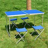 Стол для пикника усиленный с 4 стульями Folding Table, стол туристический складной, 120х60х55 см (синий), фото 5