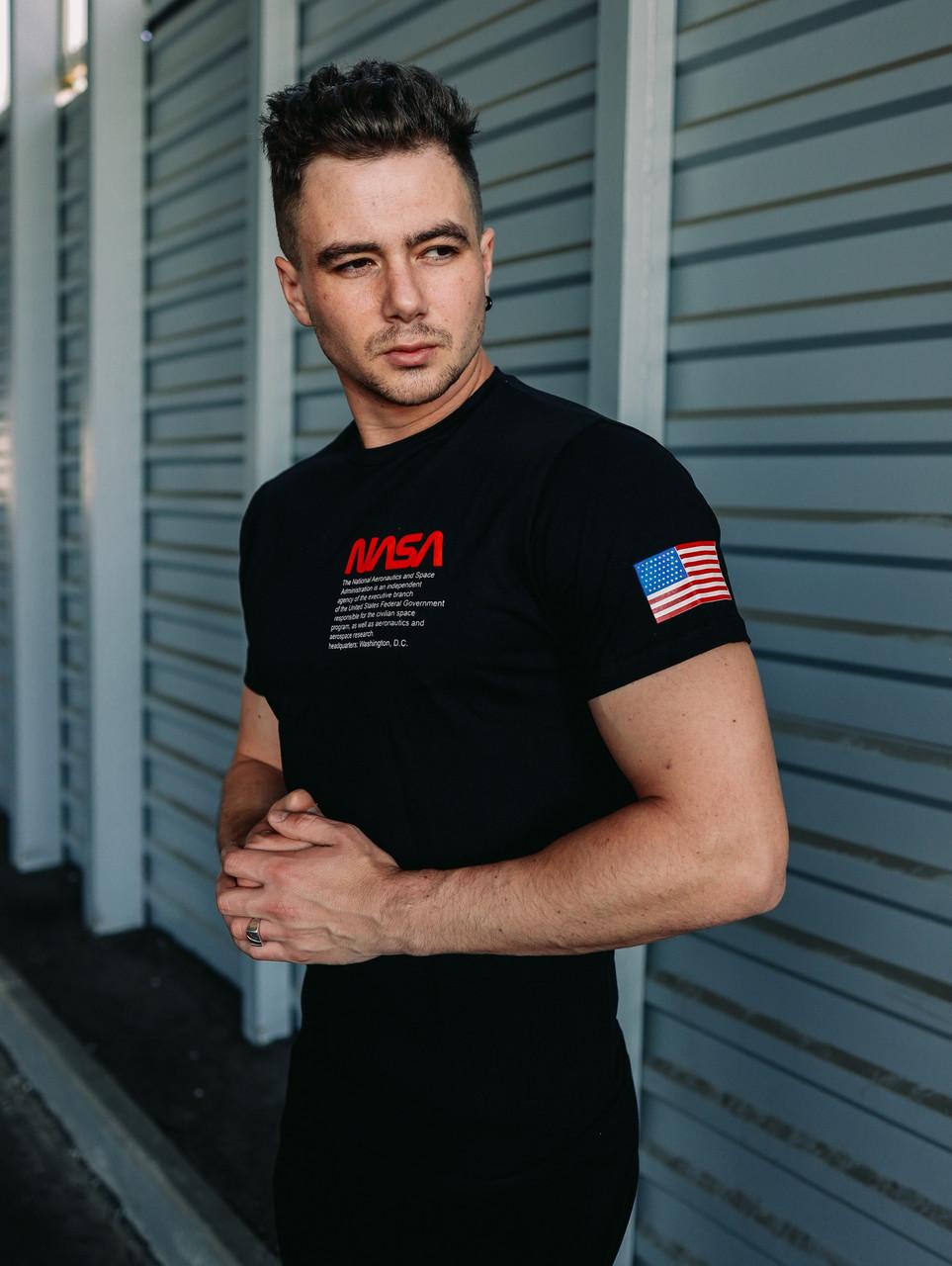 Мужская футболка Nasa (black), черная мужская футболка Наса