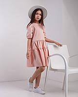 Стильное летнее платье с рукавом 3/4 для девочки 134-164 р