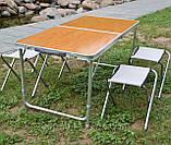 Стол для пикника усиленный с 4 стульями Folding Table, стол туристический складной, 120х60х55-70 см (бамбук), фото 2