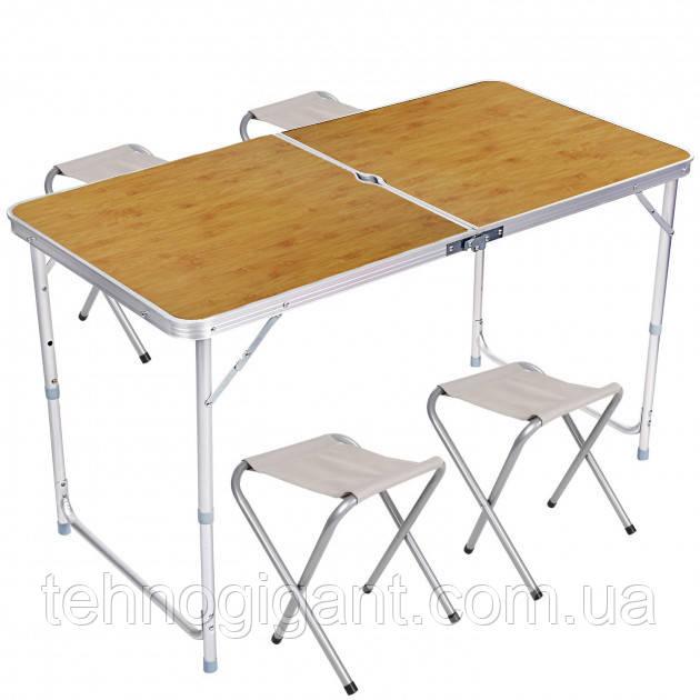 Стол для пикника усиленный с 4 стульями Folding Table, стол туристический складной, 120х60х55-70 см (бамбук)