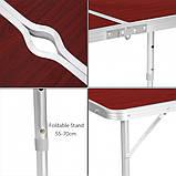Стол для пикника усиленный с 4 стульями Folding Table, стол туристический складной, 120х60х55-70 см, фото 6