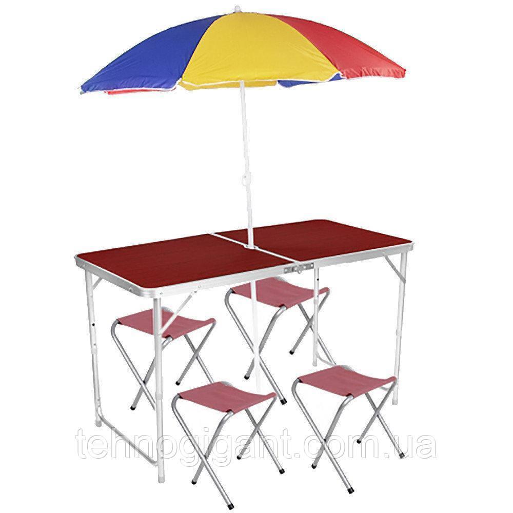 Стол для пикника усиленный с 4 стульями Folding Table, стол туристический складной, 120х60х55-70 см