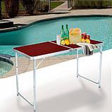 Стол для пикника усиленный с 4 стульями Folding Table, стол туристический складной, 120х60х55-70 см, фото 5