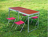 Стол для пикника усиленный с 4 стульями Folding Table, стол туристический складной, 120х60х55-70 см, фото 2
