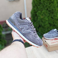 Замшевые мужские кроссовки New Balance 574 (серые) 10195