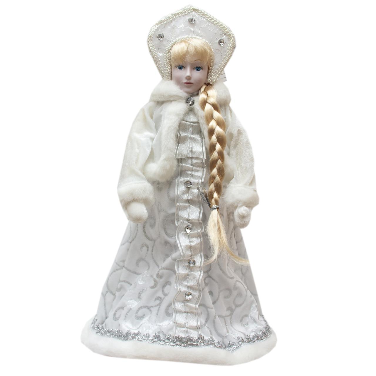 Фигура Снегурочки в белой шубе, 45 см, белый, пластик, текстиль (600205-1)