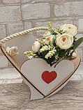 Кашпо біле у формі серця 19х25 см 75 грн, фото 3