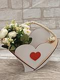 Кашпо біле у формі серця 19х25 см 75 грн, фото 2