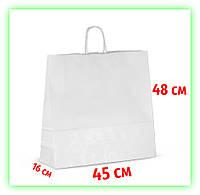 Белый бумажный подарочный крафт-пакет с ручками 450х160х480 - Большой (25шт в уп.)