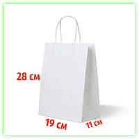 Белый бумажный подарочный крафт-пакет с ручками 190х110х280 - Упаковка