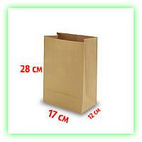 Бумажный крафт пакет без ручек 170х120х280. Коричневый пакет на вынос для еды (50шт в уп.)