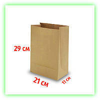 Бумажный крафт пакет без ручек 210х110х290. Коричневый пакет на вынос для еды (50шт в уп.)