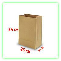 Бумажный крафт пакет без ручек 260х140х340. Коричневый пакет на вынос для еды (50шт в уп.)