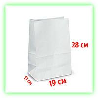 Бумажный белый крафт-пакет без ручек 190х110х280, Фасовочный. Для доставки на вынос (50шт в уп.)