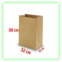 Бумажный крафт пакет без ручек 320х150х380. Коричневый пакет на вынос для еды (50шт в уп.)