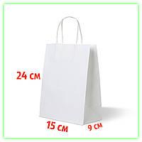 Бумажный белый пакет с кручеными ручками 150х90х240. Подарочный крафт-пакет с ручками и дном (25шт/ уп.)