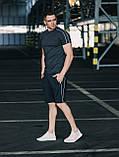 Мужской летний комплект Asos (футболка и шорты), серый летний комплект с лампасами, фото 2