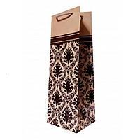 Пакет под бутылку , орнамент , крафт , 36.5×11.5×8.5 см., фото 1
