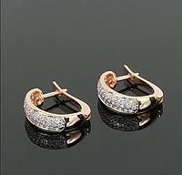 Золотые серьги пробы 585 с кристаллами Swarovski