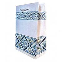 Упаковка для подарков , аышиванка голубая , картон , 14×21×6 см.