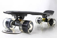 Пенни борд Penny Board 22. Black. Светящиеся Черные колеса. Скейты, фото 1