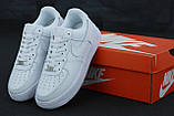Кроссовки мужские Nike Air Force 1 в стиле найк форсы белые (Реплика ААА+), фото 6