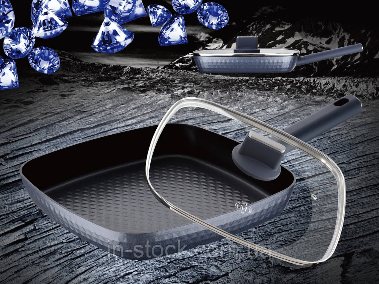 Сковорода гриль з кришкою Meisterklasse MK-1038-30 grey diamont